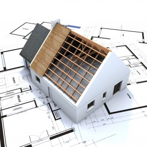 House in construction and blueprints 3